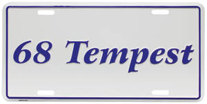 """1968-1968 Tempest License Plate, """"Tempest"""" Embossed, by RESTOPARTS"""