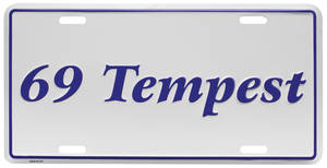 "1969-1969 Tempest License Plate, ""Tempest"" Embossed, by RESTOPARTS"