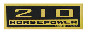 1964-77 El Camino Valve Cover Decal, Horsepower 210 HP