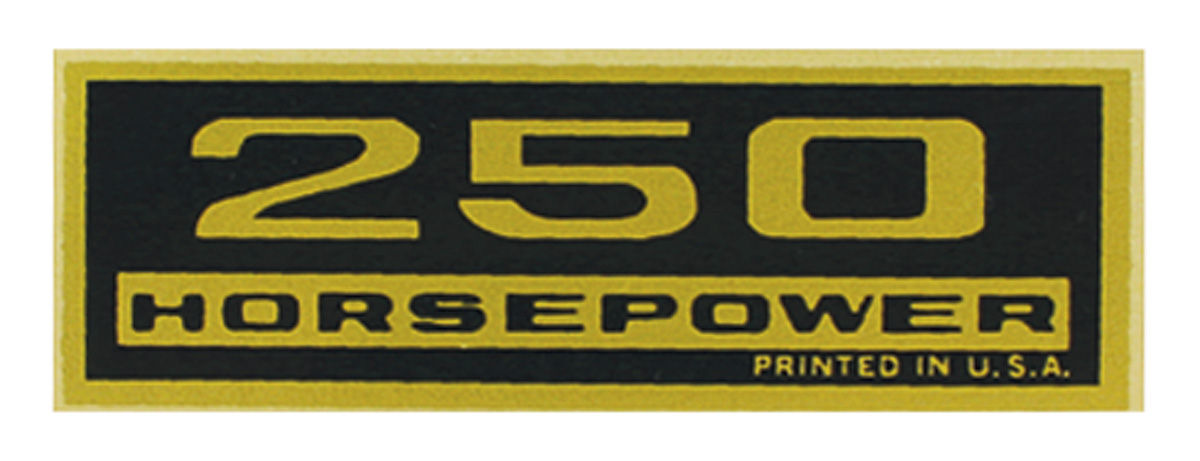 "Photo of Valve Cover Decal ""250 Horsepower"""