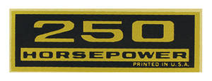 1964-77 El Camino Valve Cover Decal, Horsepower 250 HP