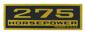1964-77 Chevelle Valve Cover Decal, Horsepower 275 HP