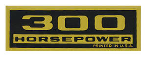 1964-77 Chevelle Valve Cover Decal, Horsepower 300 HP