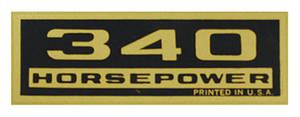 1964-1977 El Camino Valve Cover Decal, Horsepower 340 HP