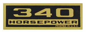 1964-77 El Camino Valve Cover Decal, Horsepower 340 HP