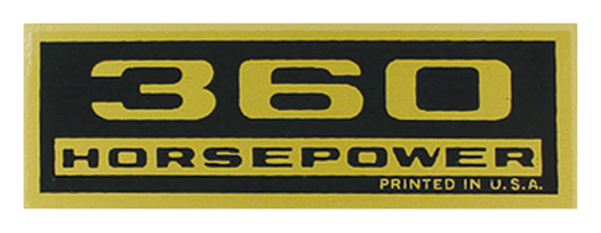 """Photo of Valve Cover Decal """"360 Horsepower"""""""