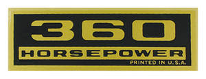 1964-77 El Camino Valve Cover Decal, Horsepower 360 HP