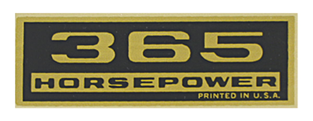 "Photo of Monte Carlo Valve Cover Decal ""365 Horsepower"""