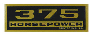 1964-77 El Camino Valve Cover Decal, Horsepower 375 HP