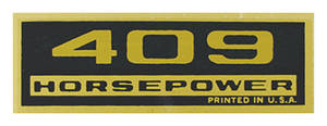 1964-77 El Camino Valve Cover Decal, Horsepower 409 HP