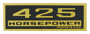 1964-1977 El Camino Valve Cover Decal, Horsepower 425 HP
