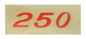 1964-77 El Camino Valve Cover Decal, Horsepower Designation 250 HP (Orange)