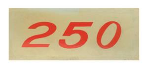 1970-77 Monte Carlo Valve Cover Decal, Horsepower Designation 250 (Orange)
