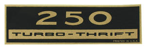 1970-77 Monte Carlo Valve Cover Decal: 250 Turbo-Thrift
