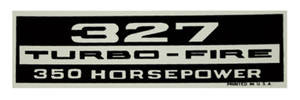 1970-77 Monte Carlo Valve Cover Decal: 327 Turbo-Fire/350 Horsepower