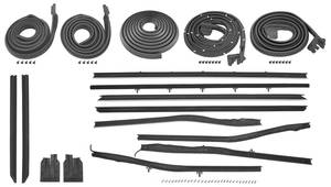 1966-67 Cutlass/442 Weatherstrip Kit, Coupe (Stage I) Original Style Felts w/Special Moldings