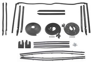 1966-67 Cutlass Weatherstrip Kit, Convertible (Stage I) Reproduction Style Felts w/Special Moldings