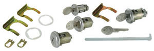1962-1964 Grand Prix Lock Set: Door, Ignition & Trunk Octagon Keys, w/Short Cylinder