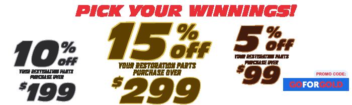 Save 15% off restoration parts