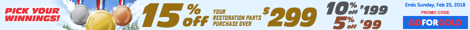 1972 GTO Save 15% off restoration parts Promotion Banner
