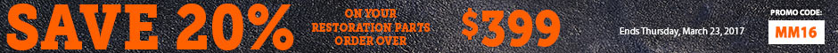 1967 Chevelle Save 20% Off Restoration Parts Orders Over $399 Promotion Banner
