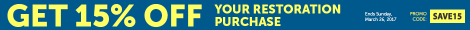 Riviera Save 15% Off Restoration Parts Orders Over $399 Promotion Banner