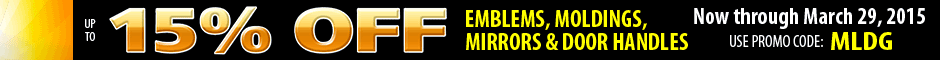 1969 Chevelle emblems, moldings, mirrors and door handles up to 15% off Promotion Banner